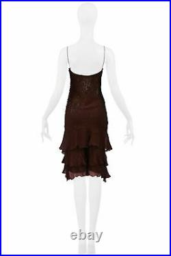 Vintage Christian Dior By Galliano Brown Beaded Silk Slip Dress