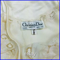 Vintage Christian Dior Cream Silky Lace Lingerie Slip Nightgown Dress Small