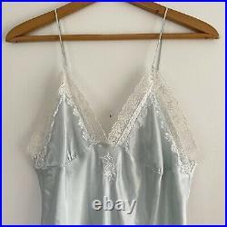 Vintage Christian Dior Lingerie Midi Slip Dress Pastel Powder Blue Satin Lace M