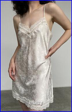Vintage Christian Dior Logo Satin Slip Dress Mini Cream Lace Small