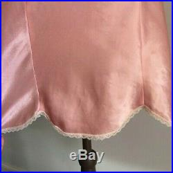 Vintage Christian Dior Pink Silk Satin Lace Night Slip Dress Size Small