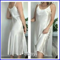 Vintage Christian Dior Slip Dress Midi White Satin