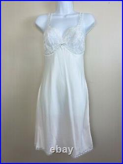 Vintage Christian Dior White Lace Blue Trim Slip Size Small Bridal Negligee