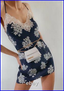 Vintage Christian Dior navy blue white silk satin floral lace slip mini dress S
