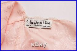 Vintage Christian Dior pink slip dress bias maxi satin lace floral lingerie RARE