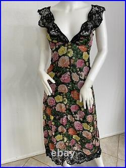 Vintage Christian Lacroix DemiCouture Silk Organza Floral Slip Dress FR 34