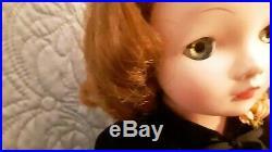 Vintage Cissy Doll Red Hair Wigged With Aqua Dress, Pink Slip, Panties Hose, Shoe