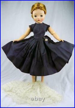 Vintage Cissy Hard-To-Find Navy Taffeta Dress, Lace Slip & Watch #2141-NO DOLL