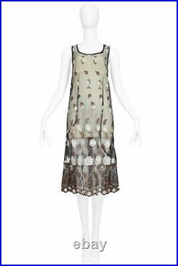 Vintage Comme Des Garcons Black Floral Embroidered Dress & Muslin Slip