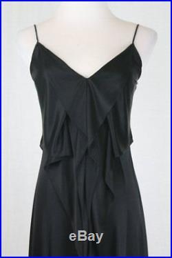 Vintage DKNY Donna Karan New York Liquid Acetate Jersey Ruffled Slip Dress S