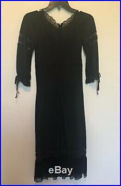Vintage DOLCE & GABBANA D&G Black Velvet & Lace Slip Dress, Sz 26 40