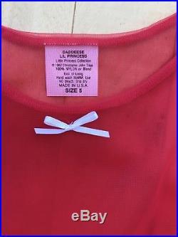 Vintage Daddeese Lil Princess Red Sheer Dress And Slip