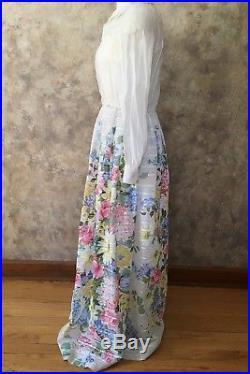 Vintage Dalani Floral Organza Maxi Dress with Slip and Belt