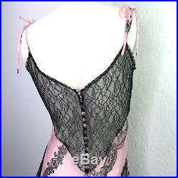 Vintage Designer Silk Slip Dress Pink 8 10 Black Lace Floral Sheer Asymmetrical