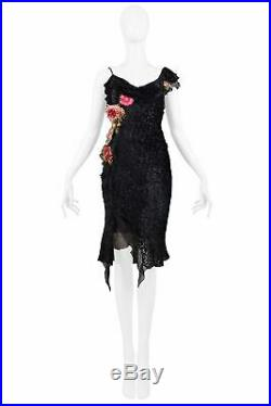 Vintage Dior By Galliano Black Velvet Devore Slip Dress With Flowers 2002