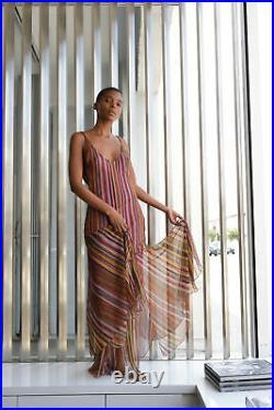 Vintage Dior By John Galliano Mauve Blanket Stripe Print Slip Dress