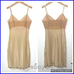 Vintage Dior Logo Monogram Trotter Oblique Beige Lingerie Silky Slip Dress, Med