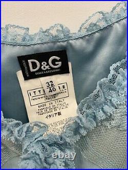 Vintage Dolce & Gabbana Blue Lace Slip Dress D & G DG Petite Fit USA Size 4