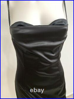 Vintage Dolce Gabbana Bustier Slip Dress Black Lined Leopard Built In Bra IT44