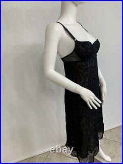 Vintage Dolce Gabbana Slip Dress Black Lined W Leopard Print Est Size Medium