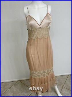 Vintage Dolce Gabbana Slip Dress Silk Chiffon Lace Maxi Size 46