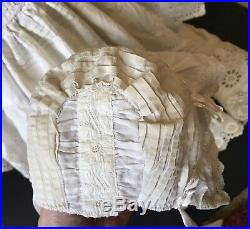 Vintage Doll Dress Pin Tuck Slip Bloomers Hat Bisque German Antique Material