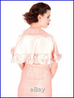 Vintage Dress S Peach Lace Tea Gown with Bias Cut Slip & Capelet 1930s 32-29-38