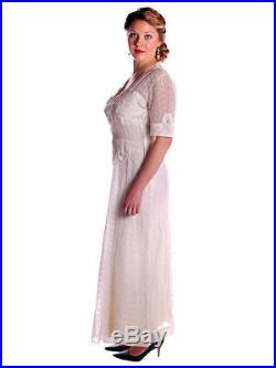 Vintage Dress Sheer White Embroidered Organdy Long Gown Slip 1940s M L