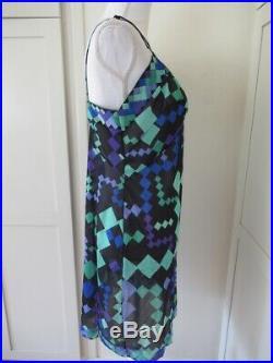 Vintage Emilio PUCCI Formfit Rogers Geometric Diamond Slip Dress Size Small 36