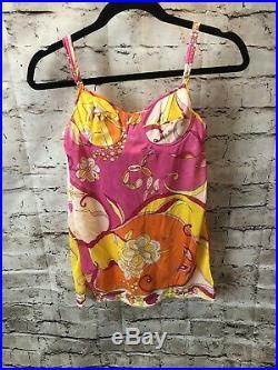 Vintage Emilio Pucci Formfit Rogers Lingerie Slip Dress 60s Pink Floral 32-A
