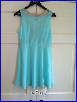 Vintage Emilio Pucci for Rogers Formfit Aqua Nightgown Lace Slip Dress Sz M EUC