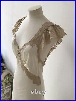 Vintage Fischer Heavenly Lingerie Lacy Cream Nightgown Maxi Slip Dress S M