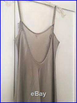 Vintage Fred Segal Gray Silver Silk Slip Dress Small Backless Spaghetti Straps