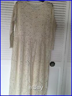 Vintage French Ivory Lace Medium Button Front Empire Waist Dress Medium