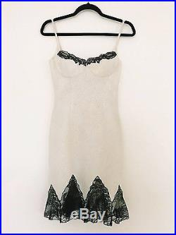 Vintage GIANNI VERSACE Quilted Nude & Black Lace Slip Dress Free US Shipping