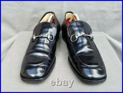 Vintage GUCCI 110 1374 Black Leather Loafers Slip-on Shoes Sz-10D Made in Italy