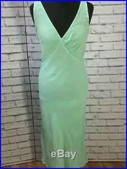 Vintage Ghost Maxi Bias Slip Dress Blue Size P