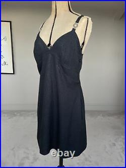 Vintage Gianni Versace Versus Dress Black Glitter Medusa Crystal Straps UK14/16