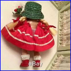 Vintage Ginny 1953 Glad NM Red Snap Shoes, green Hat Red Dress Pants Slip