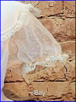 Vintage Girl Circle Dress Frilly Lacy Organza Dot Swiss Bloomers Slip 3T