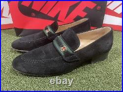 Vintage Gucci Black Suede Womens Loafers Double G Logo Slip On Size 7.5