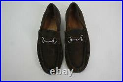 Vintage Gucci Horsebit Leather Loafers 27512 Brown Slip On Shoes Men's Size 9