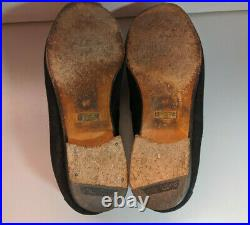Vintage Gucci Mens Black Italian Suede Horsebit Loafers Slip On Shoes Size 9D