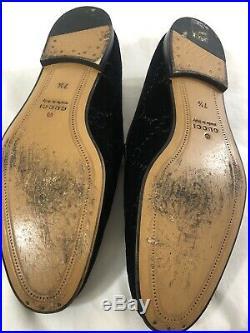 Vintage Gucci Mens Black Suede GG Horsebit Loafers Slip On Shoes Sz 7.5