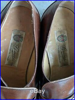 Vintage Gucci Slip On Loafer Dress Shoes Leather Horse bit 41 M 8 US Brown Italy