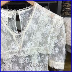 Vintage Gunne Sax Jessica McClintock Ivory Lace 20s Prairie Dress & Silk Slip 12