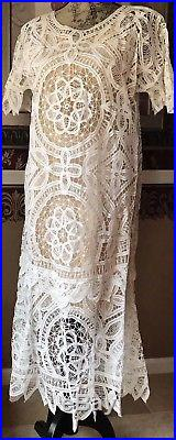 Vintage HANDMADE Fine Crochet Lace Dress w Slip underneath Size M Antique Beauty