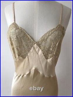 Vintage HATEM 1950s Silk Lacy Cream Night Gown Lingerie Slip Dress S-M New