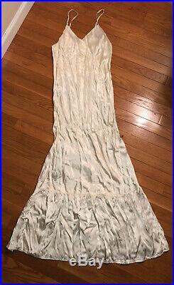 Vintage Handmade 1929 Silk Satin Wedding Dress Slip Trousseau Bias Cut Nightgown