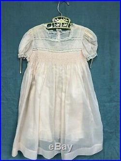 Vintage Heirloom peach swiss batiste dress + slip French lace smocking embroider